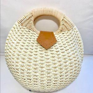 Handbags - Boho Round Rattan Bag.